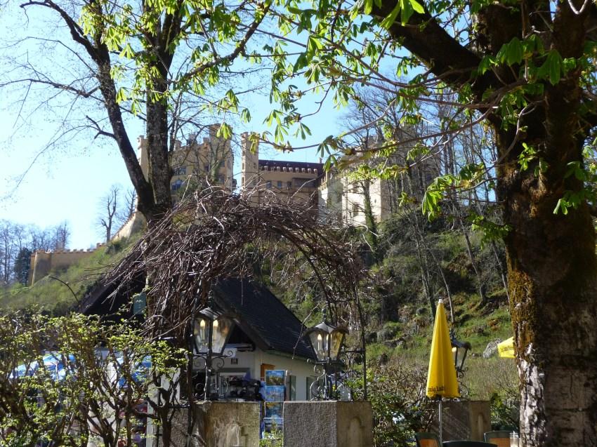 Hohenschwangau Castle as seen from Hotel Mueller Beer Garden