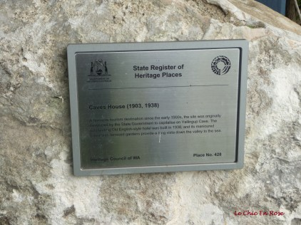 Plaque with details of the heritage listed Caves House