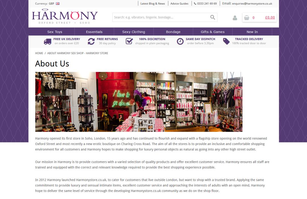 Harmony - 'About Harmony Sex Shop - Harmony Store'