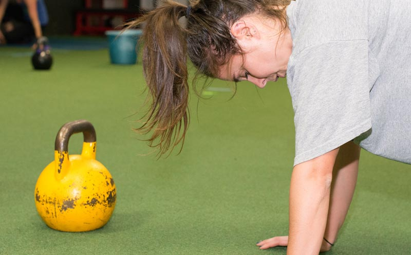 Kettlebells, push ups, and hard work... get ready to sweat!