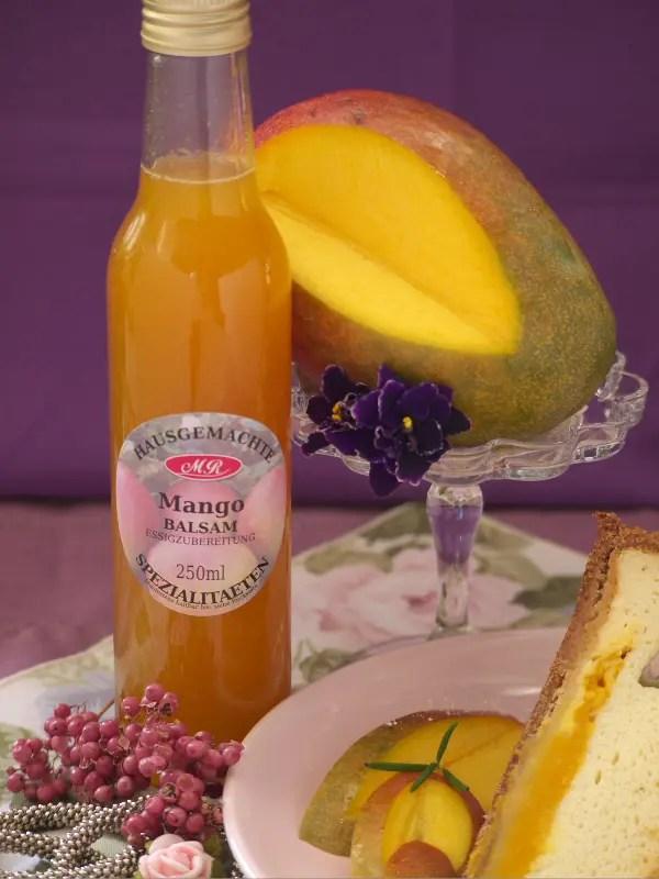 Mango Balsam Essig für Aprikosenkuchen