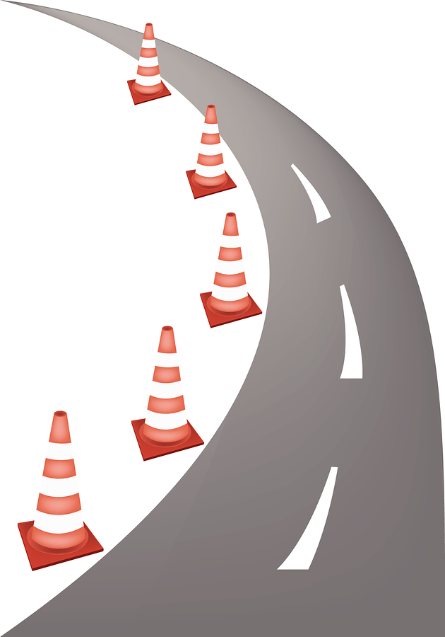 Graphic of road and cones.