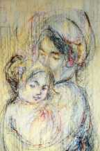 Edna_Hibel_Snuggling_Mother_And_Child_37x26