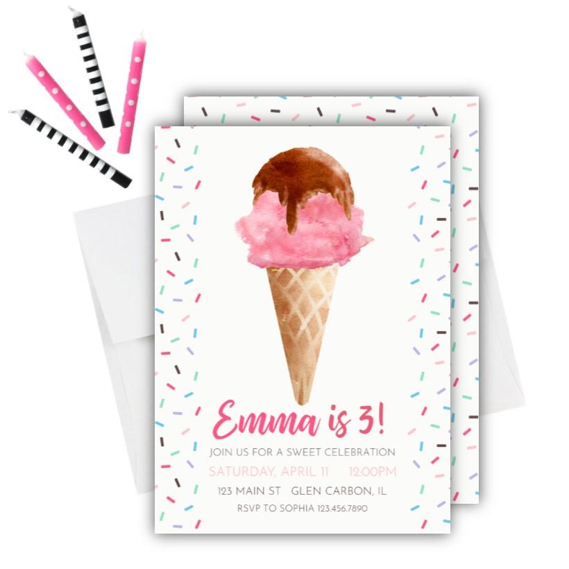 ice cream birthday invitation rose
