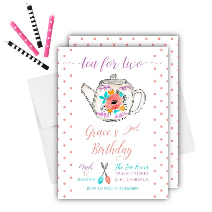 tea party 2nd birthday invitation