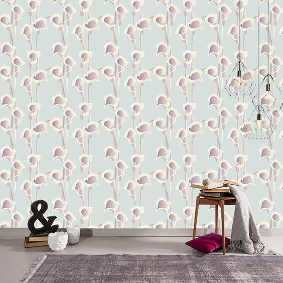 Calla Lily bespoke digital wallpaper from Rose Quartz and sold exclusively by forthefloorandmore.com