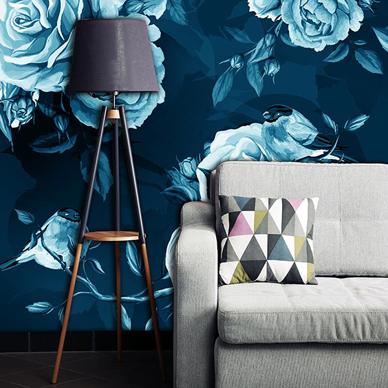 Deep blue flowers and birds wallpaper from Rose Quartz and forthefloorandmore.com