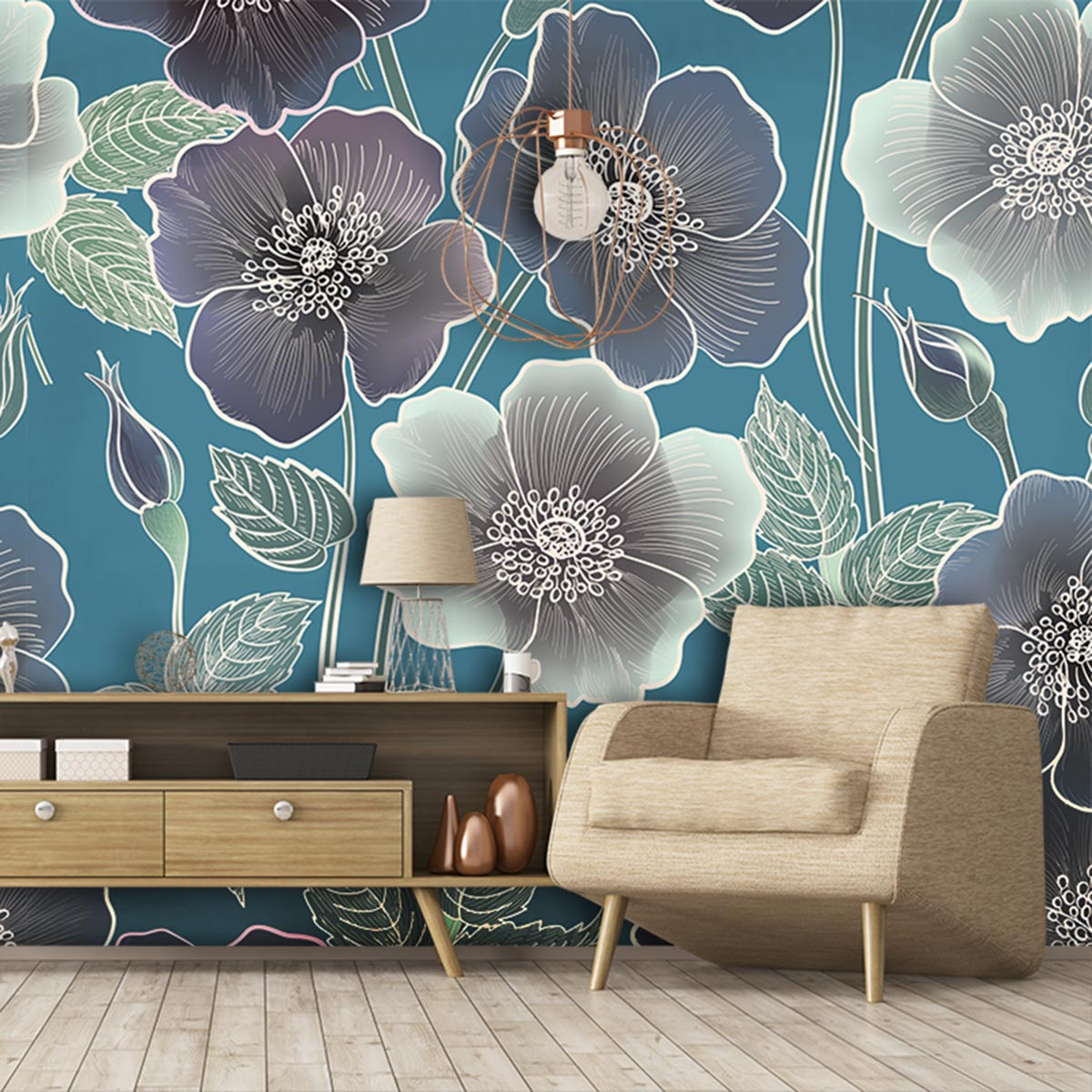 Ila floral design from Rose Quartz designs and available as a bespoke wall mural and more from Forthefloorandmore.com