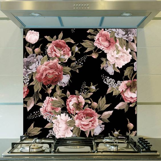Freya design as a wonderful large-scale printed floral glass splashback