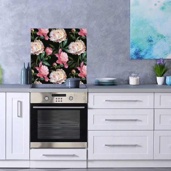 Kelde large-scale colourful floral pattern as a beautiful printed glass kitchen splashback