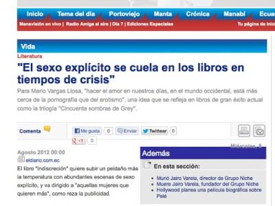 ECUADOR | 'El sexo explícito se cuela en los libros en tiempos de crisis'