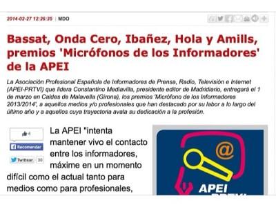 Lluís Bassat, Onda Cero, Francisco Ibañez, la revista Hola y Roser Amills, premios 'Micrófonos de los Informadores' de la APEI