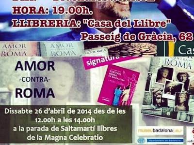 Avui el meu home Víctor Amela signa a les 19h a La Casa del Llibre de passeig de Gràcia, no hi falteu si voleu #amorcontraroma dedicat!!!