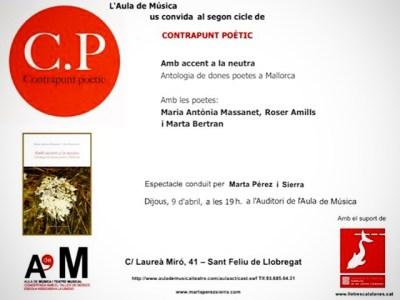 Dijous 9 presentem l'antologia de dones poetes a Mallorca #Ambaccentalaneutra a Contrapunt Poètic. Hi participem Marta Bertran Perelló, Maria Antònia Massanet i jo mateixa. Us hi esperem!