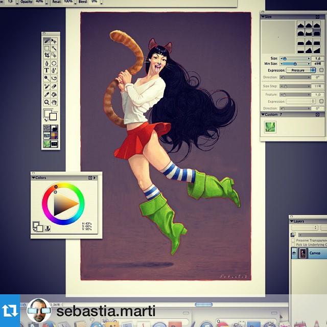 Aplauso para la obra de @sebastia.marti y suDigital Roser #portrait #computerart #pinup #pinupgirl #sexy #process #illustration #writer