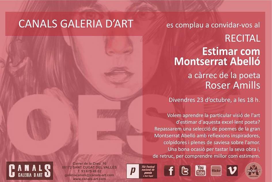Divendres vinent seré a Sant Cugat, vindreu? #festivaldepoesia #montserratabello