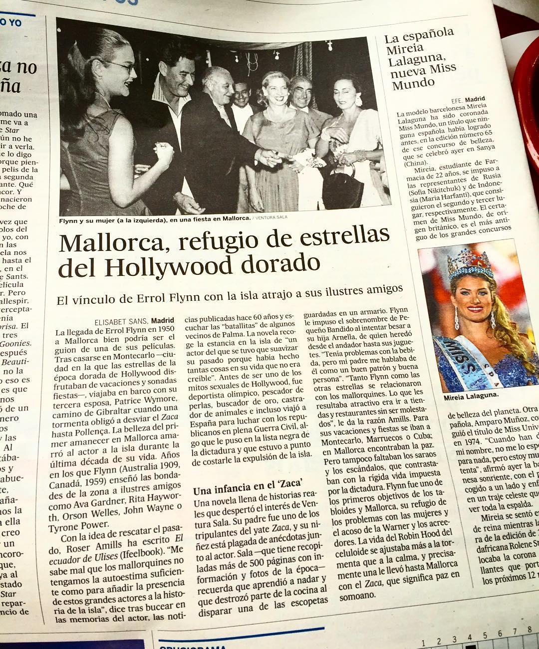 Si hoy echas un vistazo a El País encontrarás un reportaje sobre #elecuadordeUlises y la estancia de Errol Flynn en Mallorca