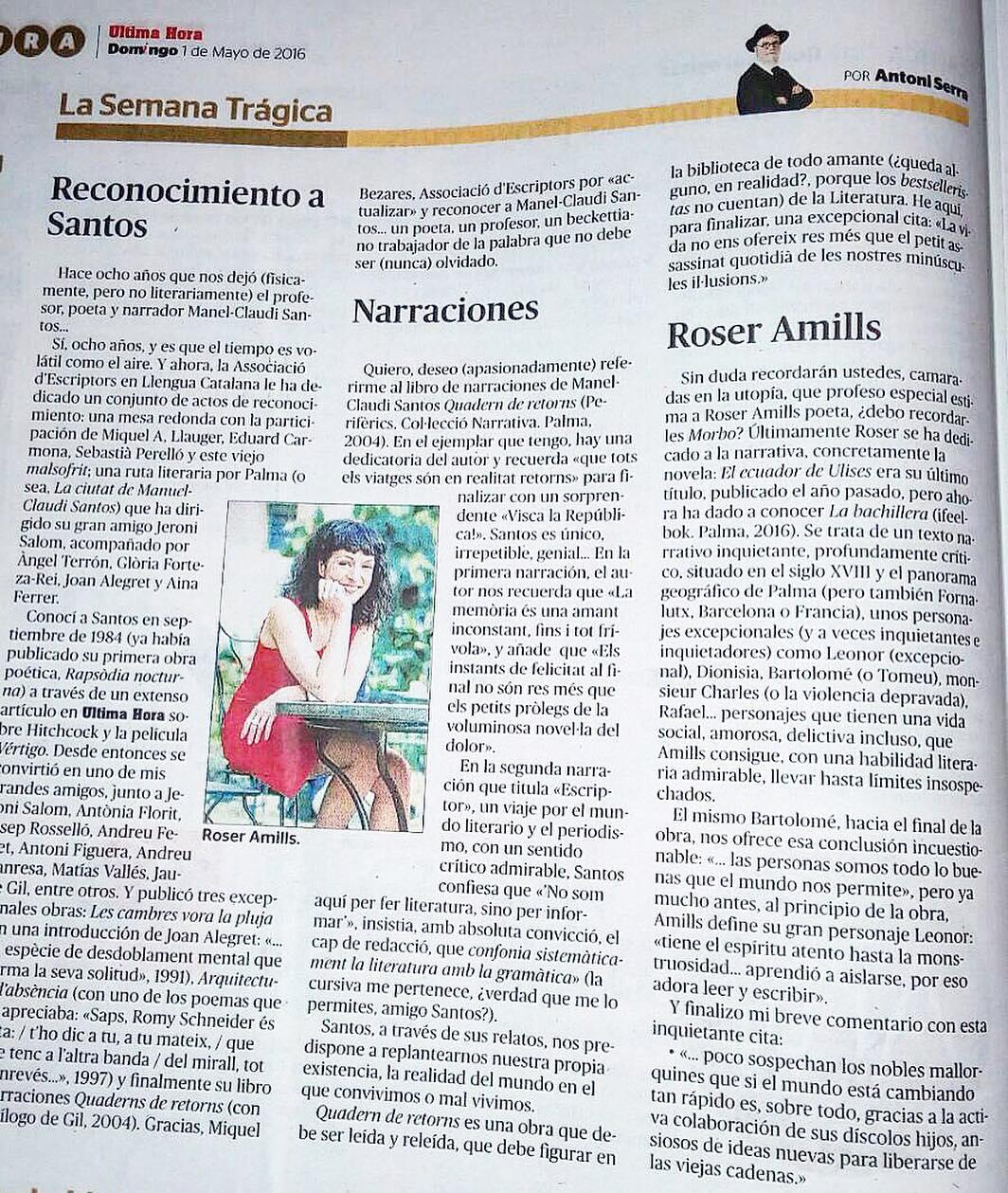 Sigo ilusionadísima con las palabras sobre del gran Antoni Serra en #últimahoramallorca