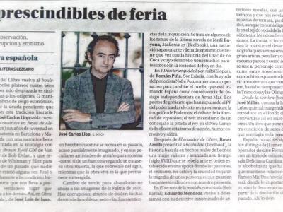 Un honor: El Diario de Mallorca habla de #labachichera con Juan Marsé, Jose Carlos Llop, Mendoza, Jordi Bayona, Juan Jose Millás …