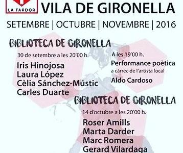 El 14 d'octubre recito. A les 20'00 h. Biblioteca de Gironella. II festival de poesia de Gironella
