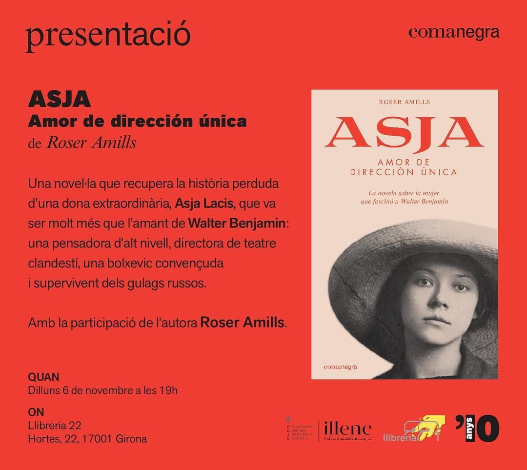 Avui a GIRONA: a les 19h ens trobem a la Llibreria 22 amb #asjalacis & #walterbenjamin Veniu!