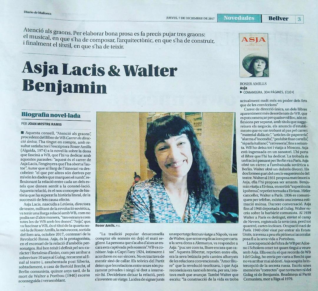 roser amills #Bellver de @diariodemallorca por esta reseña de #asjalacis & #walterbenjamin