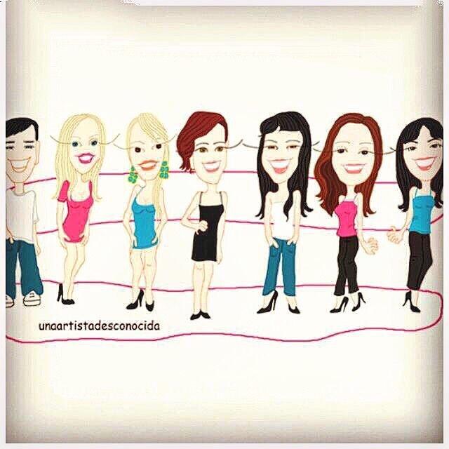 Una ilustración de @unaartistadesconocida. Yo soy la del centro con tejanitos :)) #gracias