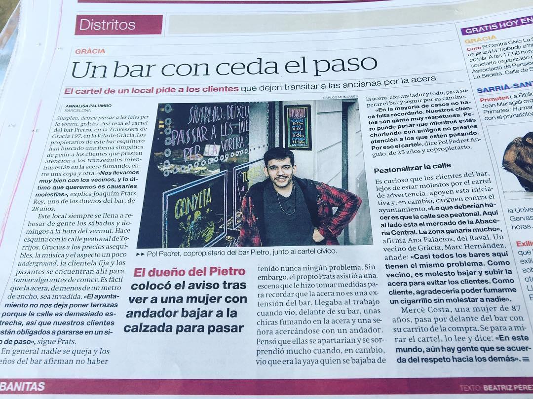 Mis amigos del @bar_pietro hoy en @elperiodico_cas Foto de @ostinpol y declaraciones de @ayoce 🤗