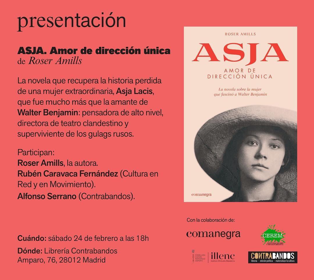 """¿Y si nos vemos este sábado en Madrid? Segunda presentación de mi novela """"Asja. Amor de dirección única"""". 📅 sábado 24 febrero ⌚️ 18h 📍 @100Contrabandos"""