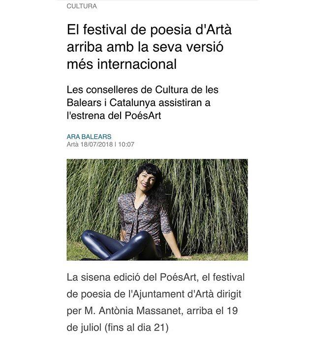 Aquest cap de setmana practicarem a Mallorca el saludable poder de la poesia compartida. Vindreu? @festival_poesart #poesart #poesia #artà