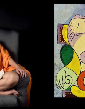 Hago de modelo para La Lecture (Pablo Picasso, enero 1932) y La Lectura (Raimon Moreno, enero 2019) en el 87 aniversario de que Marie-Thérèse Walter se durmiera con un libro sobre su regazo