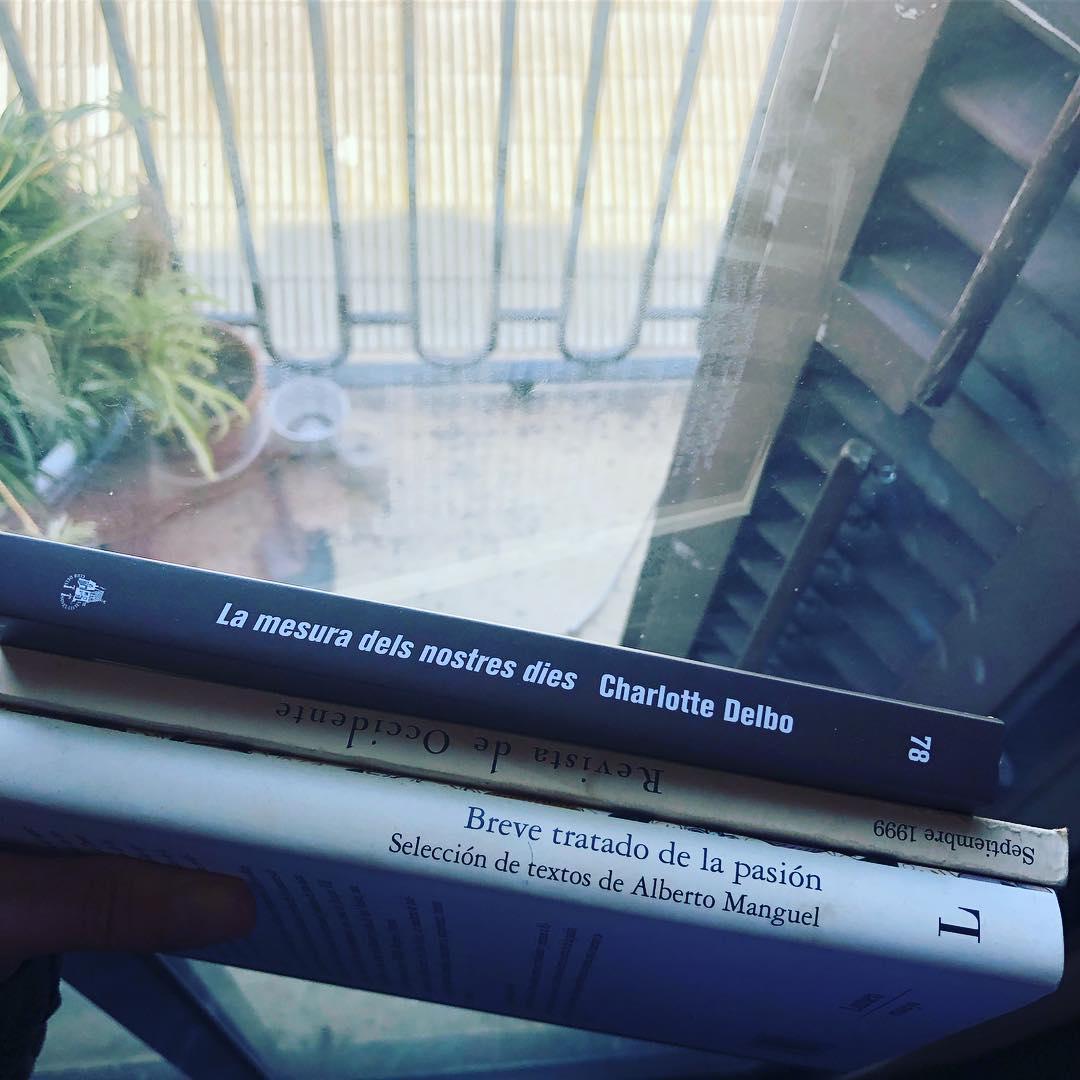 A veces hablo con los estantes de mi biblioteca. ¿Leemos un poco? Y esto es lo que me ha respondido hoy 📚#lamesuradelsnostresdies de #charlottedelbo me está gustando mucho!