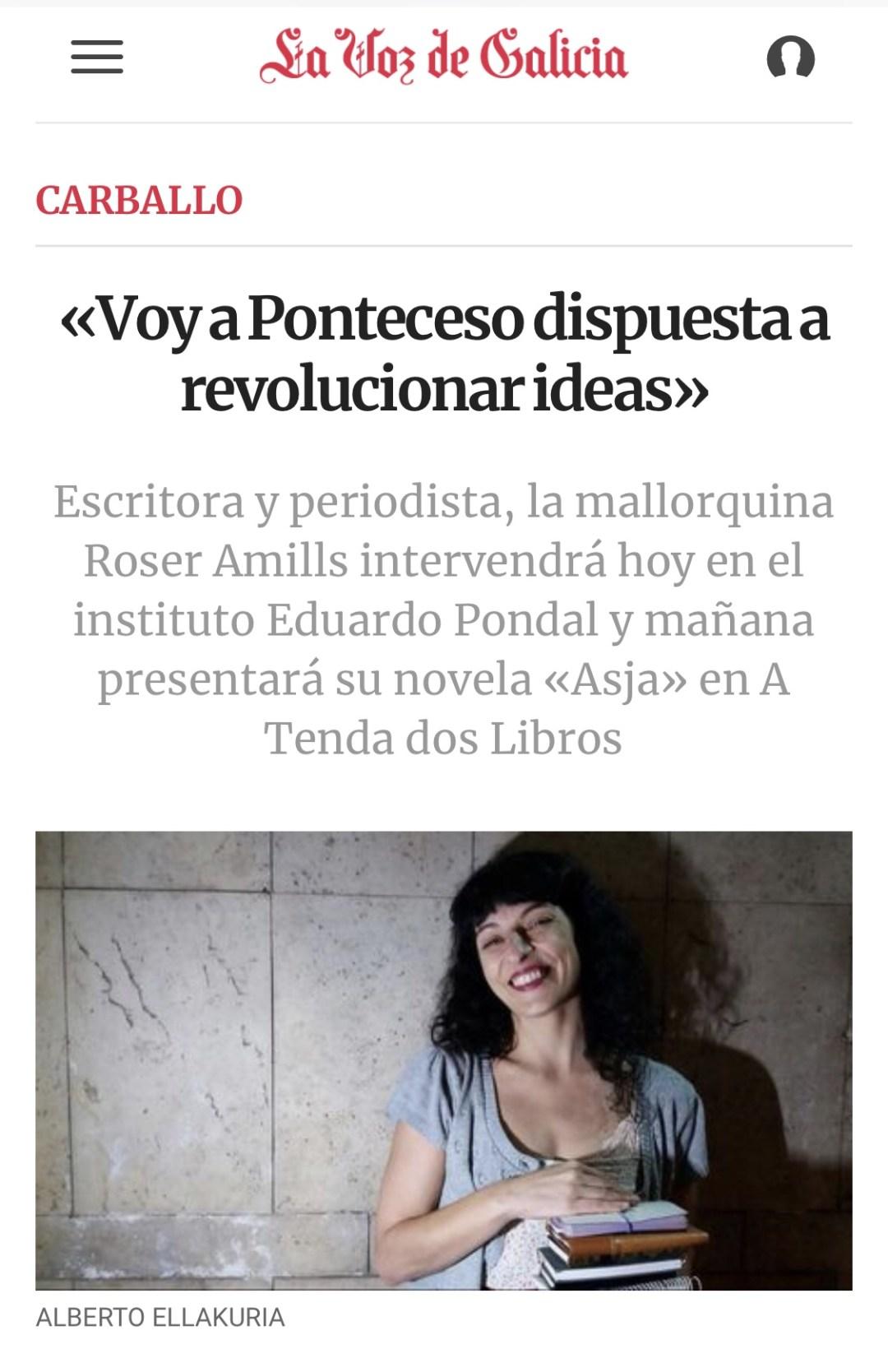 Entrevista La Voz de Galicia | «Voy a Ponteceso dispuesta a revolucionar ideas»