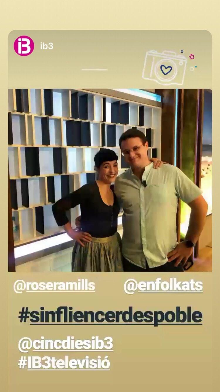 Roser Amills a IB3 amb Ivan Gaia Nicolau, #sinfluencerdespoble d'Enfolkats