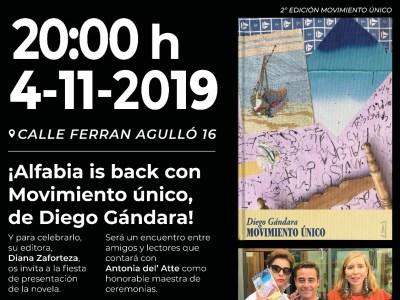 """Fiesta de presentación de la novela """"Movimiento único"""" de Diego Gándara"""