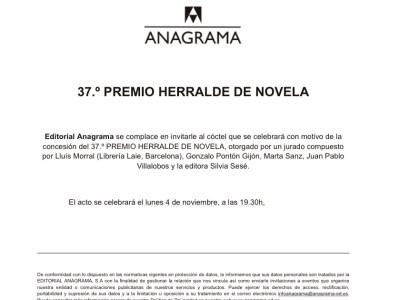 37 Premio Herralde de novela