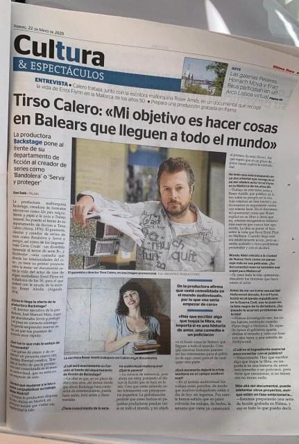 Diario Última Hora | Es un placer iniciar este proyecto para el primer documental de la productora mallorquina Backstage con Tirso Calero