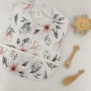 bavoir plastifie et imperméable tissu enduit motif magnolias bebe