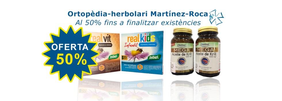 A Ortopèdia Martínez Roca Real Kids, Real Vits i oli de Krill  al 50% fins a finalitzar existències.