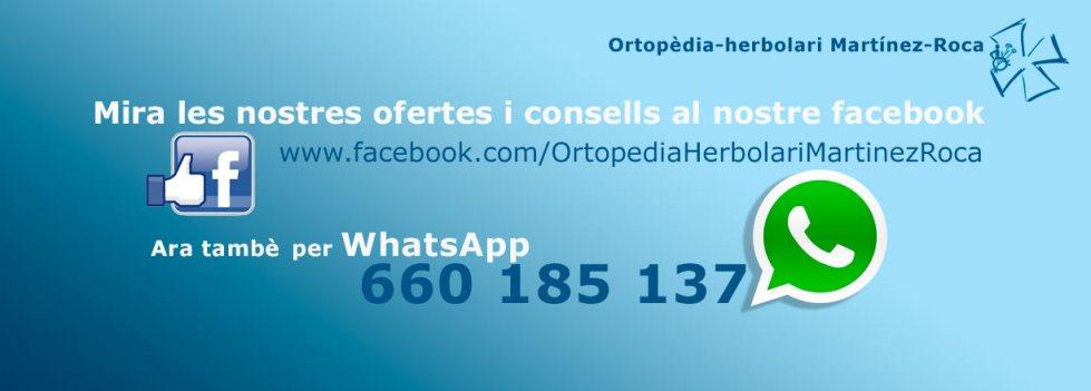Ortopèdia–herbolari Martínez Roca en Facebook i tambè a WhatsApp