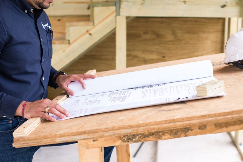 contractor closeup of blueprint