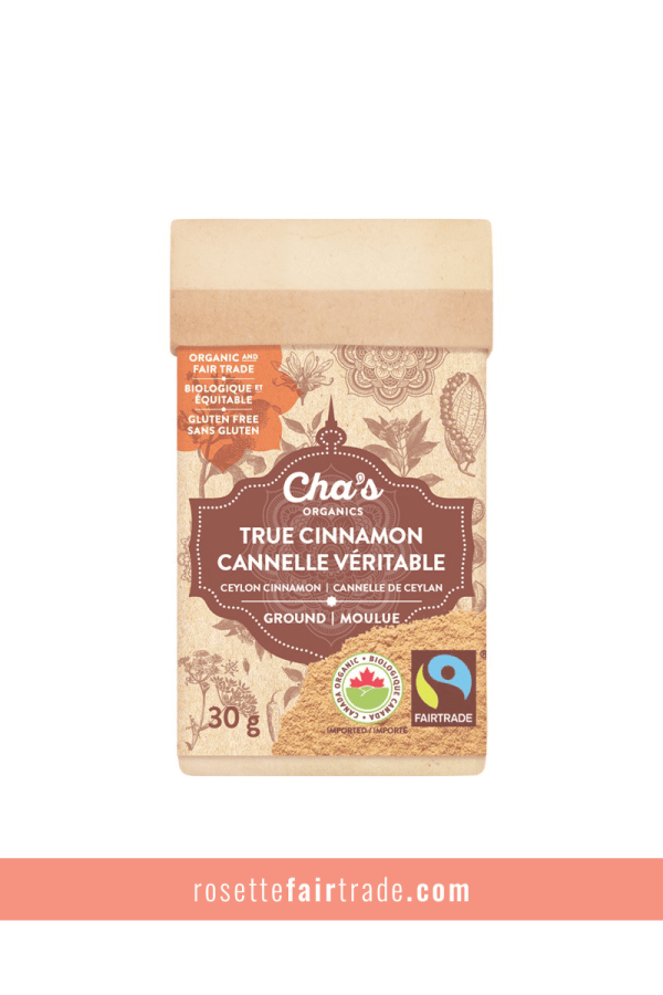 Fairtrade cinnamon (ceylon true cinnamon) by Chas Organics on Rosette Fair Trade