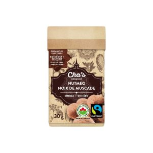Cha's Organics whole nutmeg is available on Rosette Fair Trade's online store