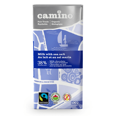 Camino sea salt milk chocolate is available on Rosette Fair Trade's online store