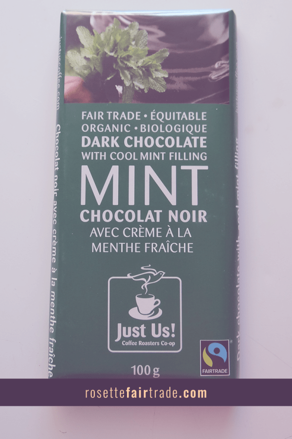 Fairtrade dark chocolate with mint filling by Just Us on Rosette Fair Trade