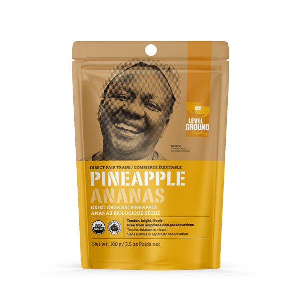 Fairtrade organic dried pineapple by Level Ground Trading is available on the Rosette Fair Trade online store