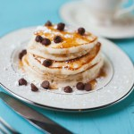 Vegan chocolate chip pancakes recipe featuring fairtrade and organic ingredients on Rosette Fair Trade (square)