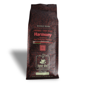 Just Us Harmony coffee (dark roast, fair trade, organic) on Rosette Fair Trade