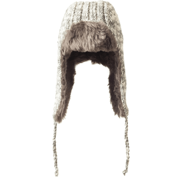 Knit aviator hat (Whistler) by Ark Imports in grey colour on Rosette Fair Trade