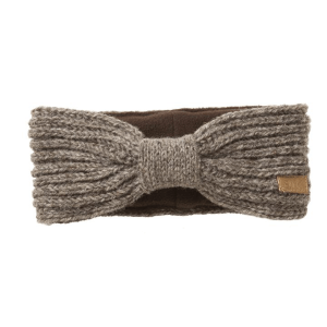 Knit head band (Ribzee) by Ark Imports in taupe colour on Rosette Fair Trade